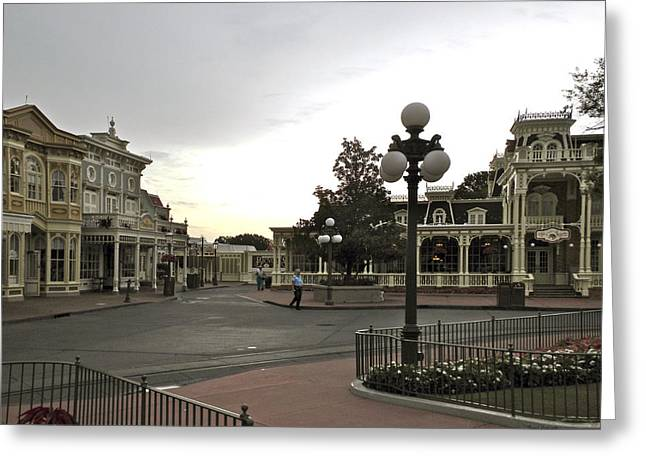 Epcot Center Greeting Cards - Early Morning Magic Kingdom Walt Disney World Greeting Card by Thomas Woolworth