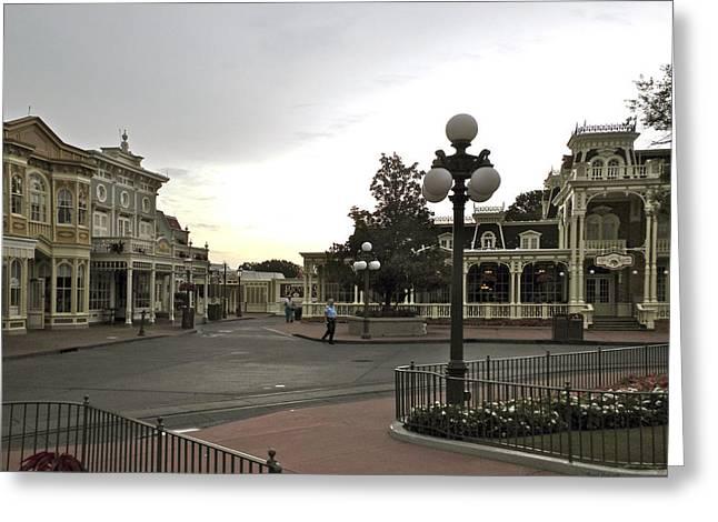 Early Morning Magic Kingdom Walt Disney World Greeting Card by Thomas Woolworth