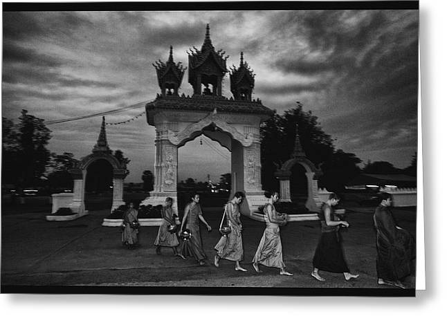 Begging Bowl Greeting Cards - Early Morning Monks Greeting Card by David Longstreath