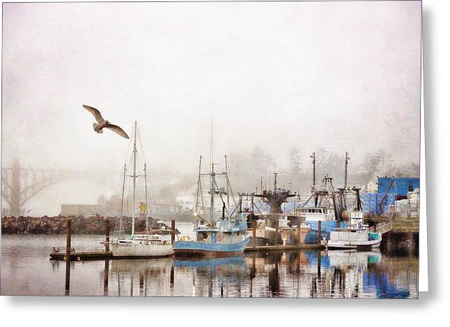 Monochrome Greeting Cards - Early Morning Newport Oregon Greeting Card by Carol Leigh