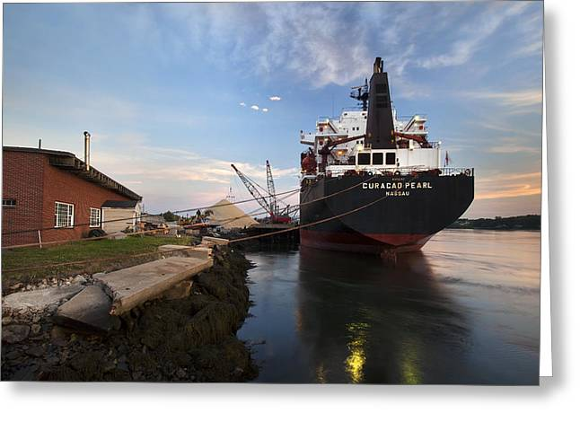Maine Waterfront Greeting Cards - Early Morning Offload Greeting Card by Eric Gendron