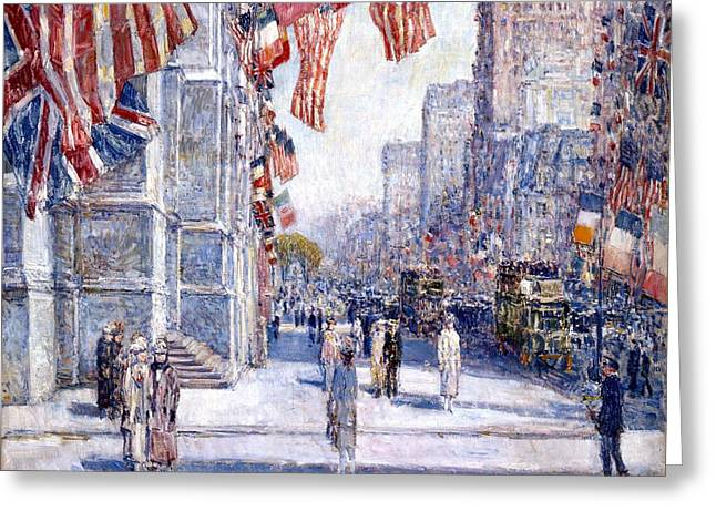 Frederick Digital Greeting Cards - Early Morning On The Avenue Greeting Card by Frederick Childe Hassam