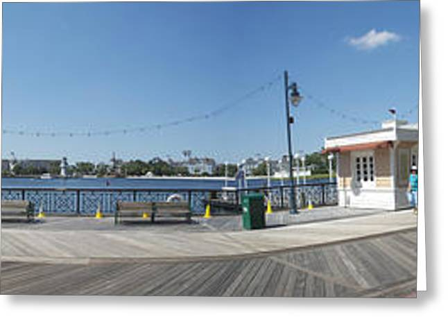 Cinderella Photographs Greeting Cards - Early Morning On The Boardwalk Panorama Walt Disney World Greeting Card by Thomas Woolworth