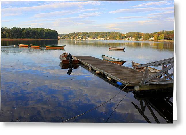 Boston Ma Greeting Cards - Early Morning on the Merrimack at Lowells Boat Shop Greeting Card by Suzanne DeGeorge