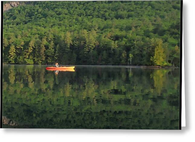 Kayak Mixed Media Greeting Cards - Early Morning Paddle Greeting Card by Linda Seifried