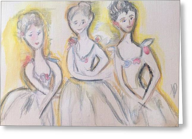 Dancers Rehearsing Greeting Cards - Early Morning rehearsal  Greeting Card by Judith Desrosiers
