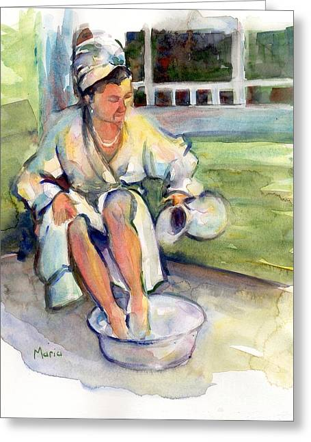 In The Bath Greeting Cards - Early Morning Riser Greeting Card by Maria