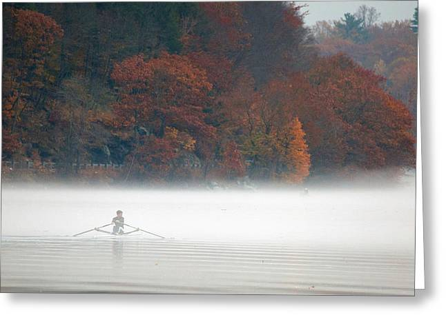 Morn Greeting Cards - Early Morning Row Greeting Card by Karol  Livote