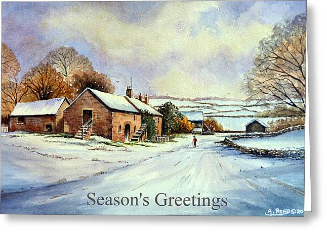 Color Reliefs Greeting Cards - Early morning snow Christmas cards Greeting Card by Andrew Read