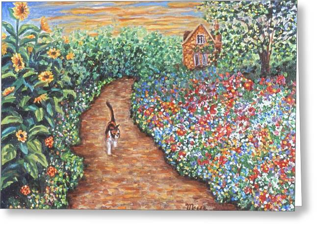 Kitten Greeting Cards - Early Morning Stroll Greeting Card by Linda Mears