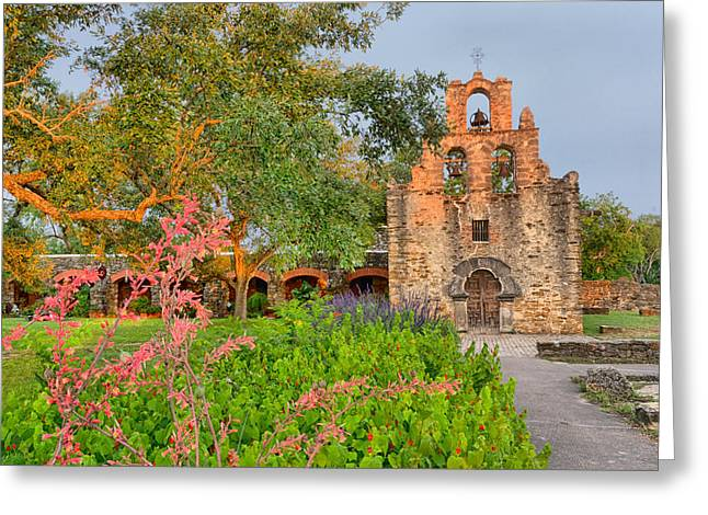 Historical Buildings Greeting Cards - Early morning Sun caressing Mission Espada Greeting Card by Silvio Ligutti