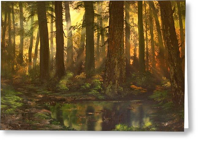 War Memorial Paintings Greeting Cards - Early Morning Sun on Cannock Chase Greeting Card by Jean Walker