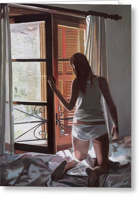Daylight Paintings Greeting Cards - Early Morning Villa Mallorca Greeting Card by Gillian Furlong