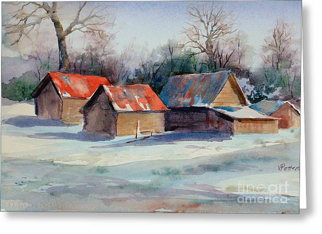 Old Barns Greeting Cards - Early Morning Greeting Card by Virginia Potter