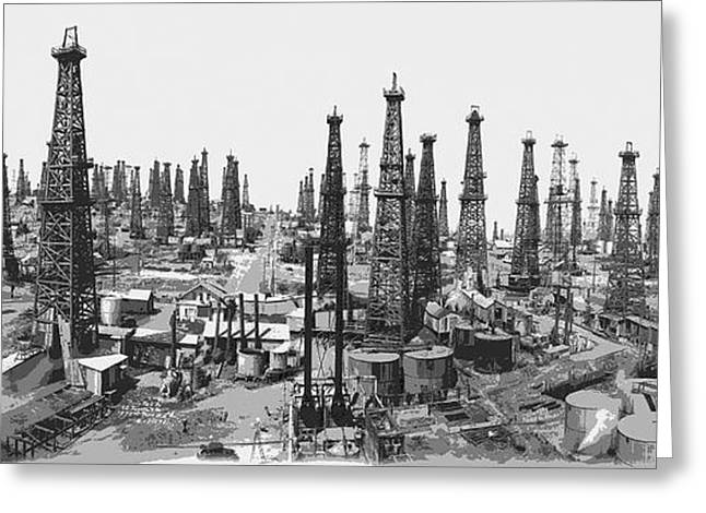 Industry Mixed Media Greeting Cards - Early Oil Field Greeting Card by Daniel Hagerman