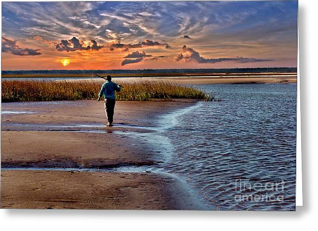 Clam Chowder Greeting Cards - Early Rise Low Tide Greeting Card by Jeff McJunkin