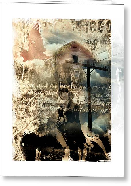 Wire Mixed Media Greeting Cards - Early Settlers  Greeting Card by Bob Salo