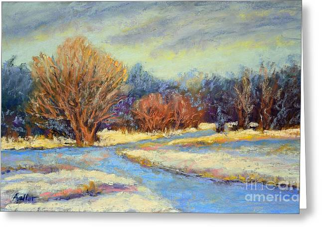 White River Scene Pastels Greeting Cards - Early Snow Greeting Card by Arlene Baller