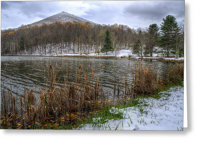 Southern Appalachians Greeting Cards - Early snow at Abbot Lake in Va Greeting Card by Steve Hurt