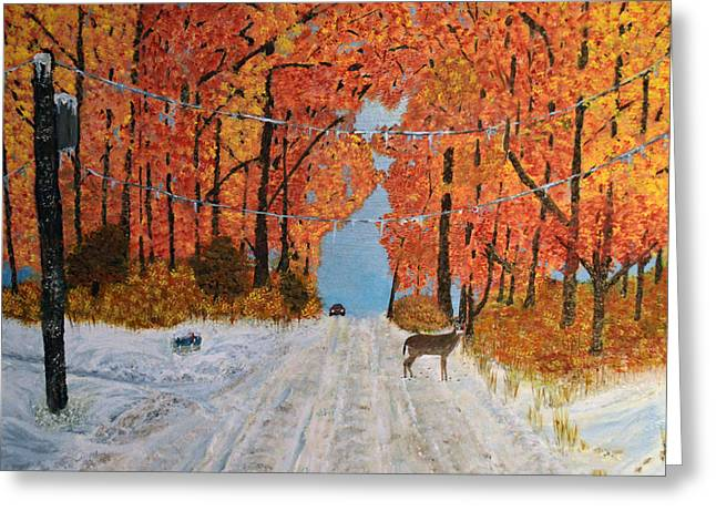 Recently Sold -  - Salmon Paintings Greeting Cards - Early snow Greeting Card by Ken Figurski