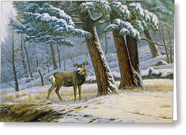 Mules Greeting Cards - Early Snow- Mule Deer Greeting Card by Paul Krapf