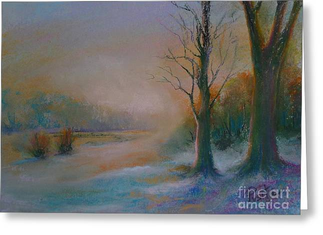 Snowscape Pastels Greeting Cards - Early Snow Greeting Card by Pusita Gibbs