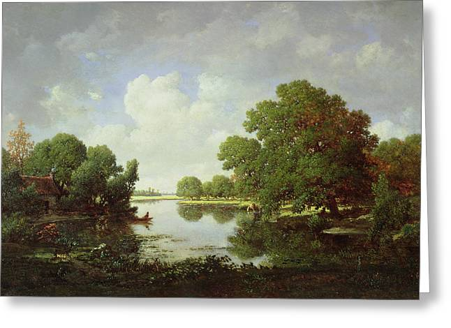 Green Canoe Greeting Cards - Early Summer Afternoon Greeting Card by Pierre Etienne Theodore Rousseau