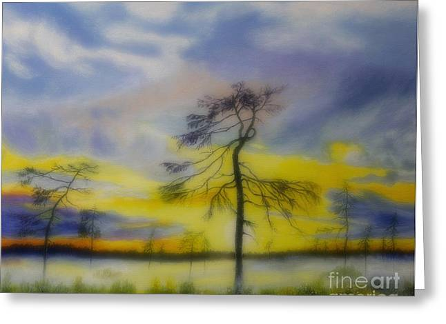 Harmonious Paintings Greeting Cards - Early summer morning Greeting Card by Veikko Suikkanen