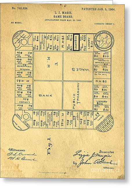 Board Game Photographs Greeting Cards - Early Version of Monopoly Board Game Patent Greeting Card by Edward Fielding