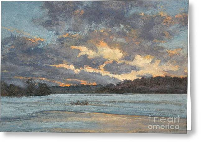 Gregory Arnett Paintings Greeting Cards - Early Winter Evening Greeting Card by Gregory Arnett