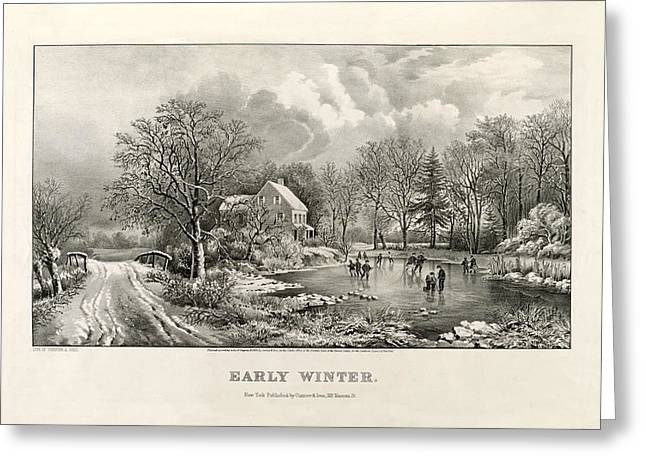 Antique Digital Art Greeting Cards - Early Winter Greeting Card by Gary Grayson