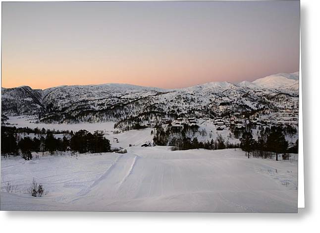 Norwegian Sunset Photographs Greeting Cards - Early winter morning Greeting Card by Gry Thunes