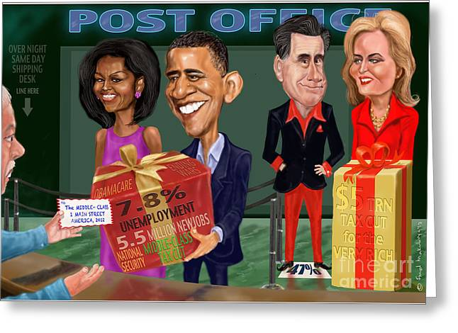 Michelle Obama Digital Greeting Cards - Early X-mas gift Greeting Card by Fred Makubuya