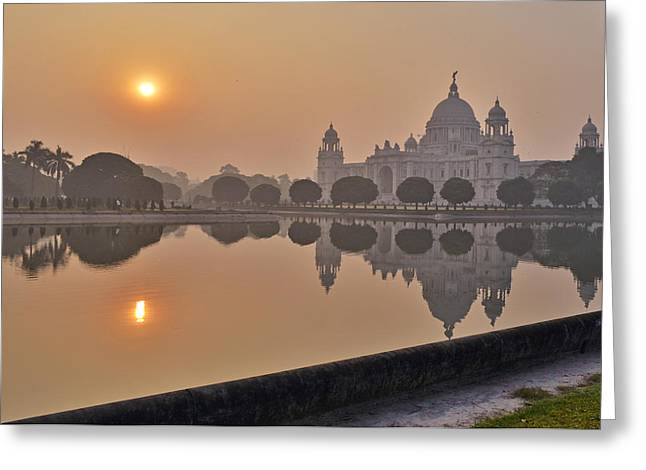 Early Pyrography Greeting Cards - EarlyMorning Victoria Memorial Greeting Card by Debrup Chatterjee