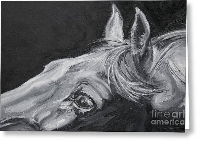 Expressionist Equine Greeting Cards - Earnest Eyes - Detail Greeting Card by Renee Forth-Fukumoto