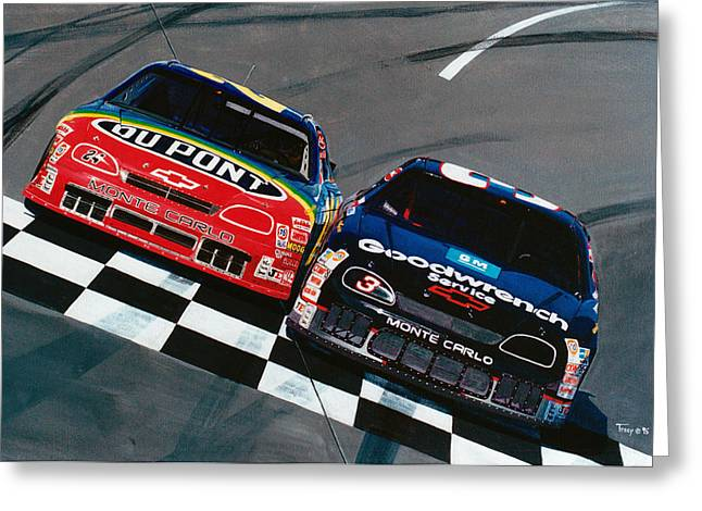 Jeff Gordon Greeting Cards - Earnhardt and Gordon Greeting Card by Robert Tracy