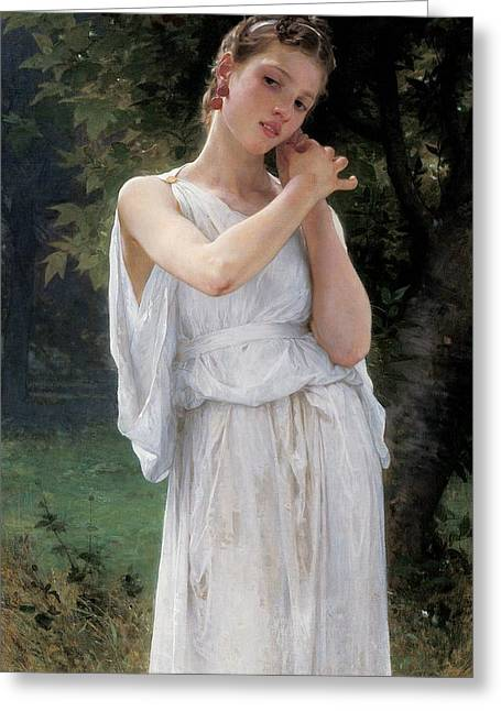Lost In Thought Paintings Greeting Cards - Earrings Greeting Card by William Adolphe Bouguereau