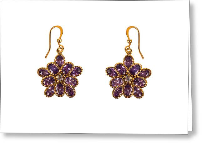 Gold Earrings Greeting Cards - Earrings with gems isolated Greeting Card by Nikita Buida