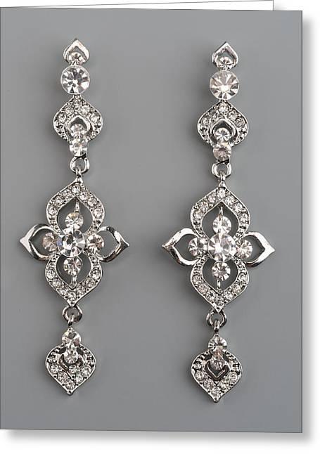 Gold Earrings Greeting Cards - Earrings with gems Greeting Card by Nikita Buida
