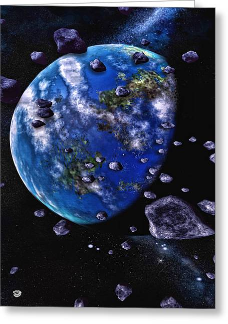 Interstellar Space Mixed Media Greeting Cards - Earth 2 Greeting Card by Todd and candice Dailey