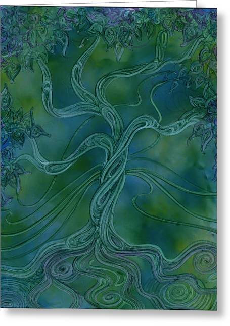 Alcohol Inks Greeting Cards - Earth Air and Water Greeting Card by Ellen Starr