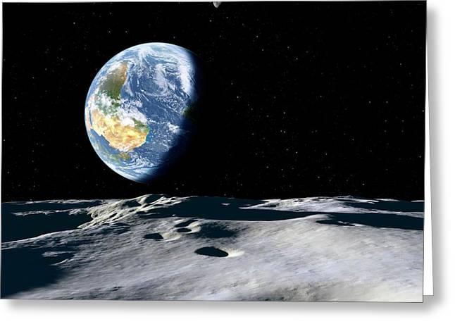 Earth And Asteroid Greeting Card by Detlev Van Ravenswaay