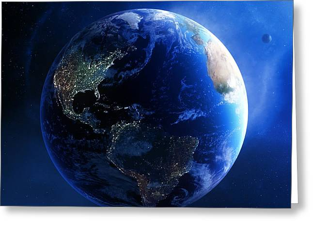Earth and galaxy with city lights Greeting Card by Johan Swanepoel