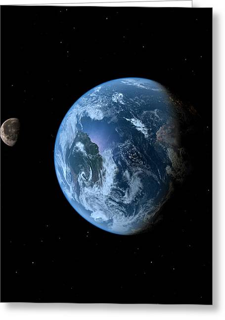 Planet Earth Greeting Cards - Earth and Moon Greeting Card by Brady Barrineau