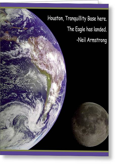 Neil Armstrong The Moon Greeting Cards - Earth And Moon Neil Armstrong Quote Greeting Card by Nasa