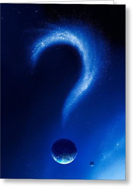 Model Photographs Greeting Cards - Earth and question mark from stars Greeting Card by Johan Swanepoel