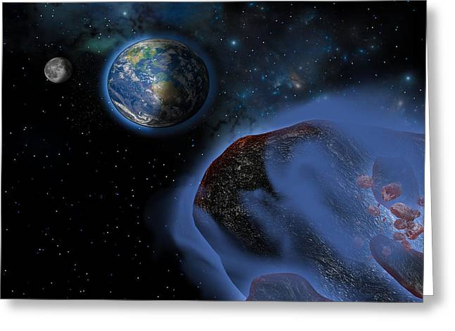 Interstellar Space Greeting Cards - Earth Asteroids Greeting Card by Corey Ford