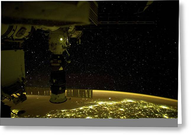 March 2012 Greeting Cards - Earth at night, ISS image Greeting Card by Science Photo Library