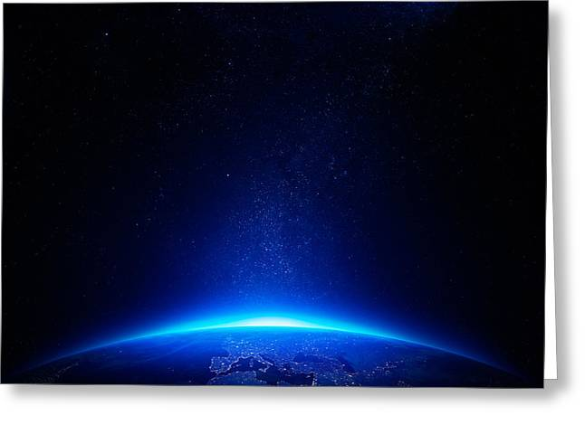 Planet Map Digital Art Greeting Cards - Earth at night with city lights Greeting Card by Johan Swanepoel