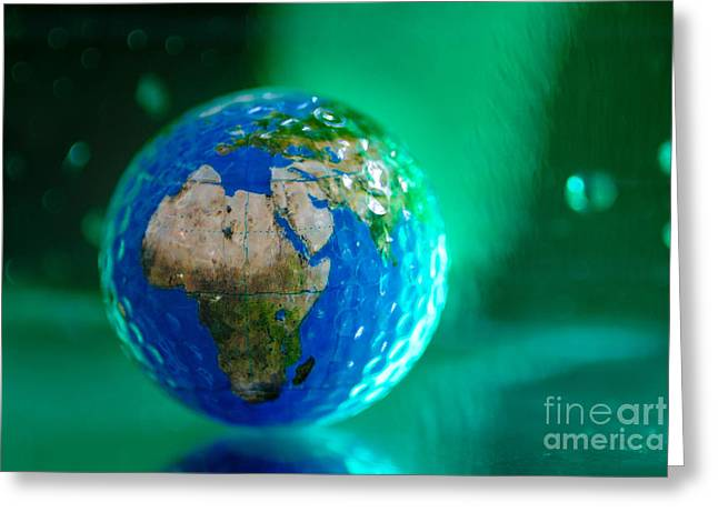 Planet Map Greeting Cards - Earth Bathed in Green Energy Greeting Card by Amy Cicconi